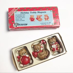 Vintage 80s Holiday Teddy Bear Magnets Kitsch